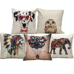 Wholesale Spoty Dog Owl Flower Elephant Animal Skull Cushion Cover Pillow Covers X45cm Decorative Sofa Chair Pillow Case Room Decor