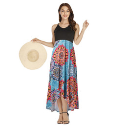 Discount summer maxi dress pink Ladies Dress Women Sling Backless V Neck Sleeveless Dresses Floral Printed Maxi Dresses Female Designer Skirts Robes