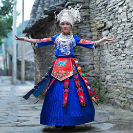 miao clothes clothing Australia - Hmong Clothes Chinese Traditional Clothing Slim Splendid Attire Ethnic Minority Women Dress Miao Silver Hat Miao Costume