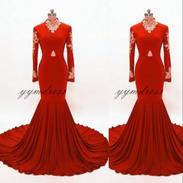 Red Dress Draped Back Australia - Red Prom Dresses 2019 High Neck Long Sleeve Zipper Back Lace Applique Keyhole Evening Gowns SweepTrain Formal Party Gowns Pius Size