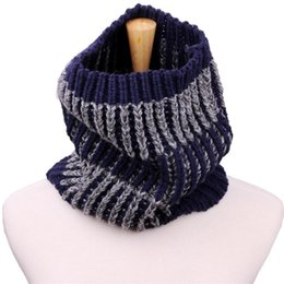 Discount womens knitted scarves - 2018 Winter Fashion Womens Warm Knit Neck Circle White Wool Blend Cowl Snood Multi-purpose wool Scarf Bufandas de cuello