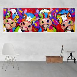 Grand Mur Art Toile Peinture Moderne Abstraite Graffiti Image Coloré Vaches Peinture Affiche pour La Maison Salon Décoration Murale en Solde