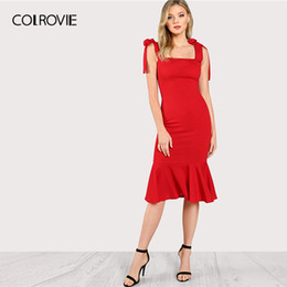 $enCountryForm.capitalKeyWord Australia - Colrovie Red Ruffle Fishtail Tied Strapped Glamorous Bodycon Dress Women 2019 Summer High Waist Elegant Mermaid Long Dress Y19073101