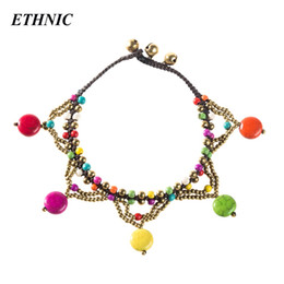 Colorful stone braCelets online shopping - Handmade Boho Colorful Round Stone Beads Charm Anklets for Women Beach Fashion Anklet Gold color Beaded Chain Ankle Bracelet