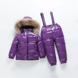 $enCountryForm.capitalKeyWord Australia - 2019 Kids Down Suit Winter Warm Boy Children Sets Windproof Waterproof Kids Ski Set for Girls Jackets Pants Fur Hooded Collar