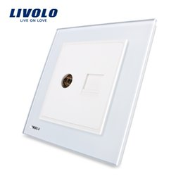 Standard Power Socket Australia - LIVOLO UK power standard TV&Telephone Socket type , electricity sockets Crstal Black Glass panel,uk wall safe plugy