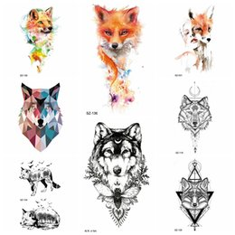 318cc9d9b877c Tattoos Wolves Canada - Watercolor Fox Temporary Tattoo Stickers Women Arm  Insect Water Transfer Tatoos Men