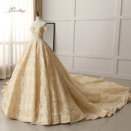 royal wedding pictures NZ - wholesale Luxury Boat Neck Lace Ball Gown Wedding Dress 2019 Sexy Royal Train Appliques Beaded Bride dresses Vestido De Noiva