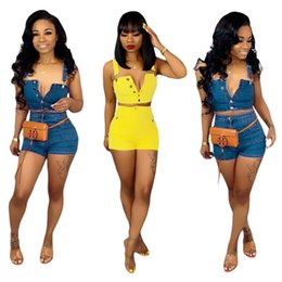 Denim Shorts Straps Australia - Sexy Denim Tracksuit Women Spaghetti Strap Crop Top and Jeans Shorts Female Fashion Bodycon Jeans Two Piece Set Blue Yellow
