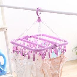 Clothes Rack Skirt Australia - 32 Clips Folding Clothes Hanger Dryer Windproof Socks Underwear Drying Rack Children