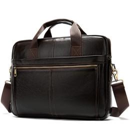 Discount office bag for men leather - Messenger Bag Men'S Leather 14 Inch Laptop Bag Office Briefcase Business Tote Shoulder Portable Handbag For Men