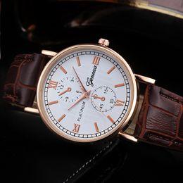 Geneva Watch Bands Men Australia - Geneva Men Wrist Watch Retro Design Leather Band Analog Alloy Quartz man watches vintage men wristwatch clock watch male
