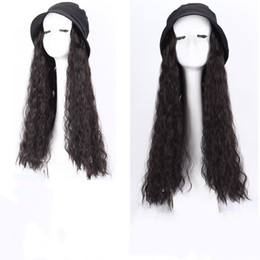 synthetic hair wholesalers NZ - Hot Bucket Hat Wigs Long Black Curly fisherman caps synthetic hair wigs 55cm 4 colors mixed color
