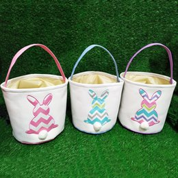 Interactive Toy Rabbit Australia - Easter Stripe Rabbit Basket Easter Bunny Bags Rabbit Printed Canvas Tote Bag Egg Candies Baskets 3 color