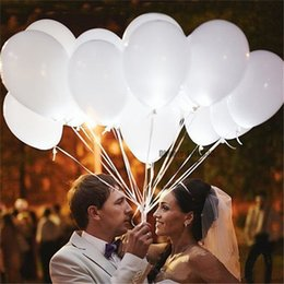 12inch White Led Flash Balloons Illuminated LED Balloon glow birthday party supplies Wedding Decoration powered by Battery on Sale