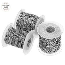 $enCountryForm.capitalKeyWord UK - 10yards roll 3mm 4mm 5mm Width Silver Tone Stainless Steel Bulk Chain Men's Figaro Chain For Necklaces Bracelets Jewelry Making J190711