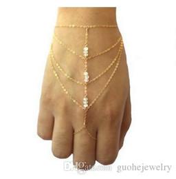 Chain Finger Rings Australia - New Boho Jewelry fashion Multi golden chain tassel finger ring bracelet chain slave bracelets and short bangle