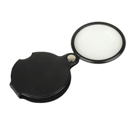 Loupe Wholesalers Australia - Folding Magnifier Mini Cortex Loupe 50MM Leather Case Enlarged Mirror Pocket Type Portable Black Camping Tools 1 45dt C1
