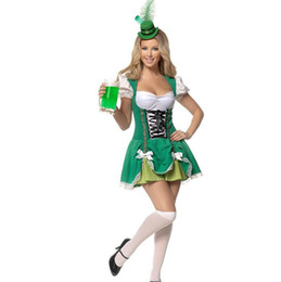L Hats Australia - Oktoberfest Women Octoberfest Costume Party Performance Dance Clothing Set Beer Party Dress Green with Small Hat XL L M