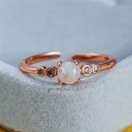rose gold cluster engagement rings Australia - Boho Female Small Round Natural Moonstone Ring Rose Gold Open Adjustable Ring Love Wedding Engagement Rings For Women