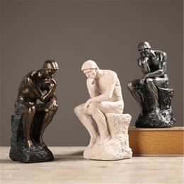 $enCountryForm.capitalKeyWord Australia - Thinker Statue Sculpture Fine Art Male Nude Figure Home Decor European Resin Figurine Room Desk Crafts Drop Shipping T190709