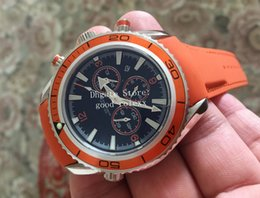 Alloy steel products online shopping - New Products Men s Chronograph Watch Orange Bezel Vk OS Quartz Movement Watches Black Dial Mens Ronda Specialities Co Axial Men Wristwatches