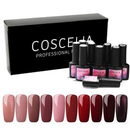10PC Nail Gel 8ml Gel Polish UV Nail Polish Varnish Glitter Base And Top Semi Permanant UV Art Manicure Set on Sale