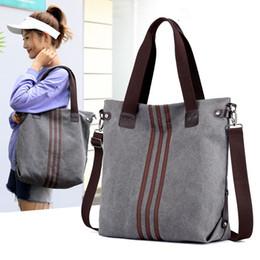 Camel Bag Sale NZ - Vintage Canvas Ladies Handbags Women Messenger Bags Totes Striped Designer Shoulder Bag Boston Hand Bags Hot Sale