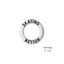 Cheap Number Plates Australia - Fishh10pcs a lot cheap zinc alloy antique silver color round affirmation ring charm engraved cheerleader dance skating sport bracelet charms