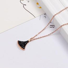 $enCountryForm.capitalKeyWord Australia - Korean version of the diamond small fan necklace titanium steel 18K rose gold clavicle chain starry items fashion zircon torque hot sale bes