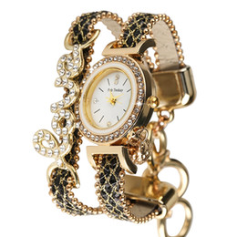 $enCountryForm.capitalKeyWord Australia - Unique Alloy Case Quartz Analog with Crystal Bracelet Watch Diamond-encrusted Love Series Sequins Leather Strap Women Bangle Watches