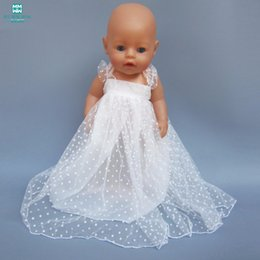 white baby doll dresses NZ - Doll clothes suitable for 43cm born baby doll accessories and 18-inch girl dress white gauze skirt princess dress