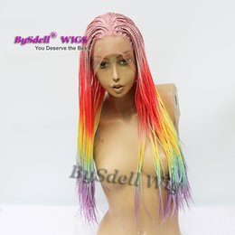 $enCountryForm.capitalKeyWord Australia - beauty African American braid hairstyle wig ombre red yellow colorful rainbow color braids hair lace front wigs for black  white women