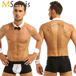 waiter button Canada - Men Tuxedo Lingerie Butler Waiter Tuxedo Suit Boxer Underwear with Bow Tie Collar Bracelets Sissy Pouch Panties Roleplay Costume