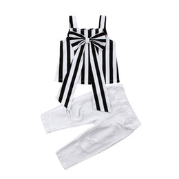 $enCountryForm.capitalKeyWord UK - Baby girl outfits 2pcs stripe suspender tops+hole pants trousers Suits Clothing Sets girls outfits baby tracksuit kids boutique Clothes