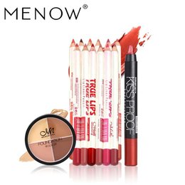Menow Lipstick Brand Australia - MENOW Brand Makeup set 12Colors Set Waterproof Lip liner Pencil &19 Colors Sexy KISS PROOF Matte Lipstick &Concealer Cream 5431