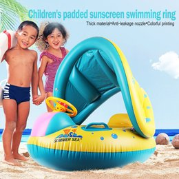 Infant Pool Inflatables Australia - Kids Baby Swimming Rings Safe Inflatable Infant Yacht Swim Pool Toy Baby Adjustable Sunshade Child Toddler Seat Float Boat #TX4