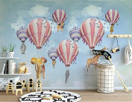 hot air balloon wall stickers UK - Hot Air Balloon Giraffe Elephant Animal 3D Cartoon wallpaper mural for Kids Children room 3d Cartoon Sticker 3d Wall Paper