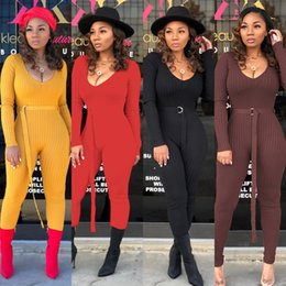 ad83f064f4216 Long Sleeve Sexy Rompers Womens Jumpsuit Fashion Deep V Neck Rib Plus Size  Bodysuit Spring Autumn Ladies One Piece Basic Overall