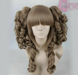 lolita wave wig NZ - Details about Lolita Long dark khaki 2 Clip On Ponytail Wavy Cosply Hair Full Wig