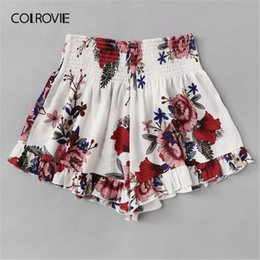 White Shorts Australia - COLROVIE Plus Size White Floral Print Elastic Waist Ruffle Hem Boho Shorts Women 2019 Summer Casual Beach Style Wide Leg Shorts T5190617