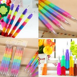 Kids Blocks Wholesale Australia - 4Pcs lot Colorful Non-Sharpening Pencil pencil Stacker Swap Pencils Building Block For Kids Gifts