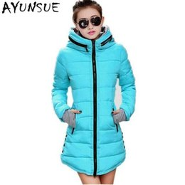 Blue Ladies Slimming Jacket UK - Women's Jacket Winter 2019 New Medium-Long Cotton Parka Plus Size Coat Slim Ladies Casual Clothing Hot Sale T190610