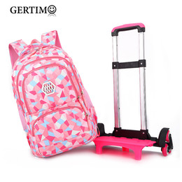 $enCountryForm.capitalKeyWord Australia - Children Orthopedic School Bags with 2 6 Wheels for Girls Removable Trolley Backpack Kids Wheeled Satchel Travel Luggage Bags