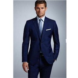 $enCountryForm.capitalKeyWord Australia - Fashion classic men's suit blue lapel single-breasted men's business office suits and prom dresses (jacket + pants) custom made