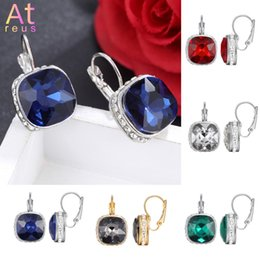 square hoop earrings for women 2019 - 5 Color Luxury Female Acrylic Crystal Hoop Earrings Silver color Rhinestone Setting Square Earrings For Women Jewelry Wh