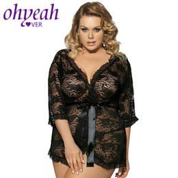 $enCountryForm.capitalKeyWord NZ - Ohyeahlover Black Lace Sleepwear Sexy Robe Plus Size Women Pajamas Femme Half Long Sleeve Transparent Sexy Lingerie M-3XL RM7298