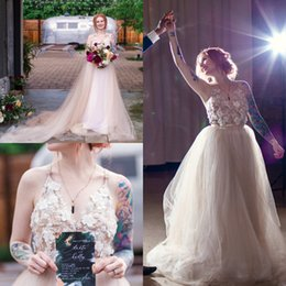 Drop Waist Lace Wedding Dresses Straps Australia - Champagne Country Wedding Dresses A Line New 2019 Pearls Beaded Tulle Skirt Empire Waist Straps Cheap Beach Boho Style Lace Bridal Gowns
