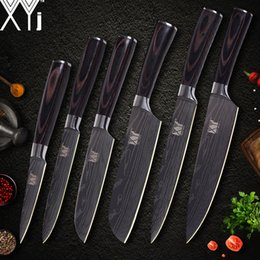 Chef Kitchen Set Australia - XYj Kitchen Knife Cook Sets Damascus Pattern 7cr17 Stainless Steel Knife Chef Slicing Santoku Utility Paring Knife Cooking Tools