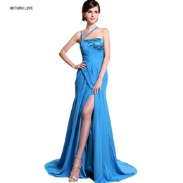 Wholesale Robe De Soiree Elegant Evening Dresses Halter Beaded Sweep Train Split Fashion Design Women Formal Evening Gowns Prom Party Gown